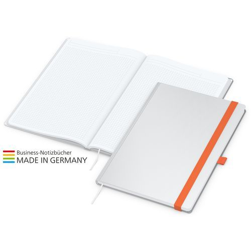 Notizbuch Match-Book White A4 Bestseller, matt, orange (individuell, orange) (Art.-Nr. CA320841)