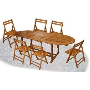 Alpentolone Tavolo In Legno Ovale Allungabile 170 200 230x100 Eucalipto 6 Sedie Pieghevoli In Eucalipto