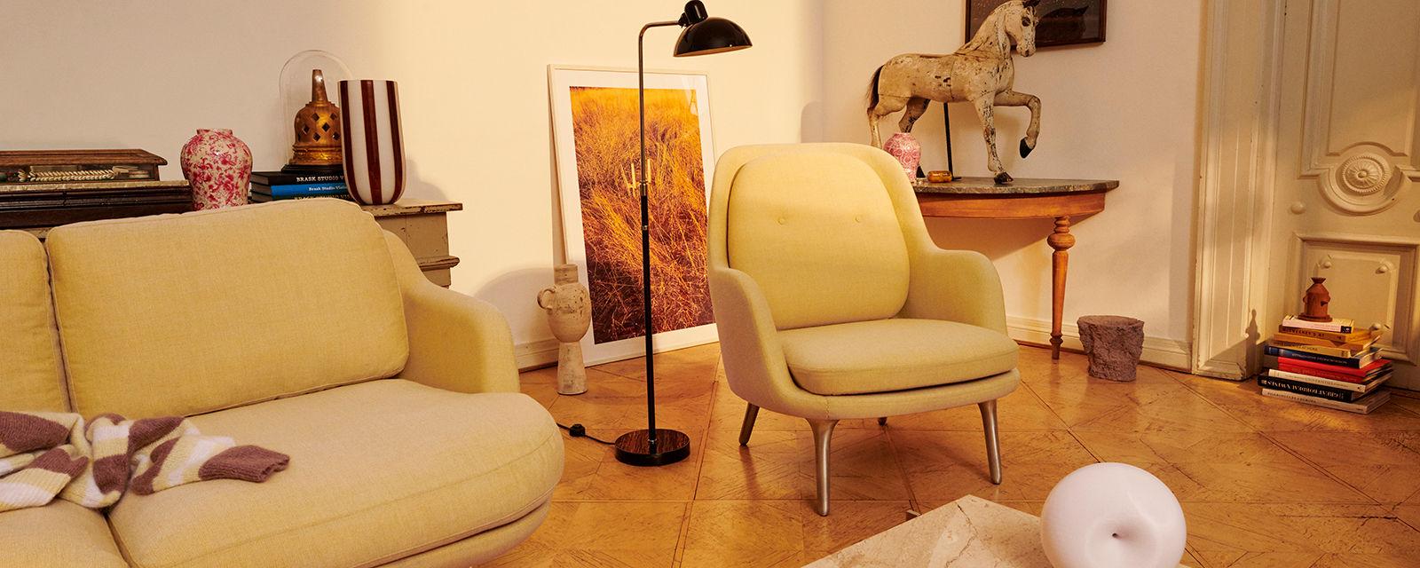 Fritz Hansen Fri™ Chair & Kaiser Idell Floor Lamp