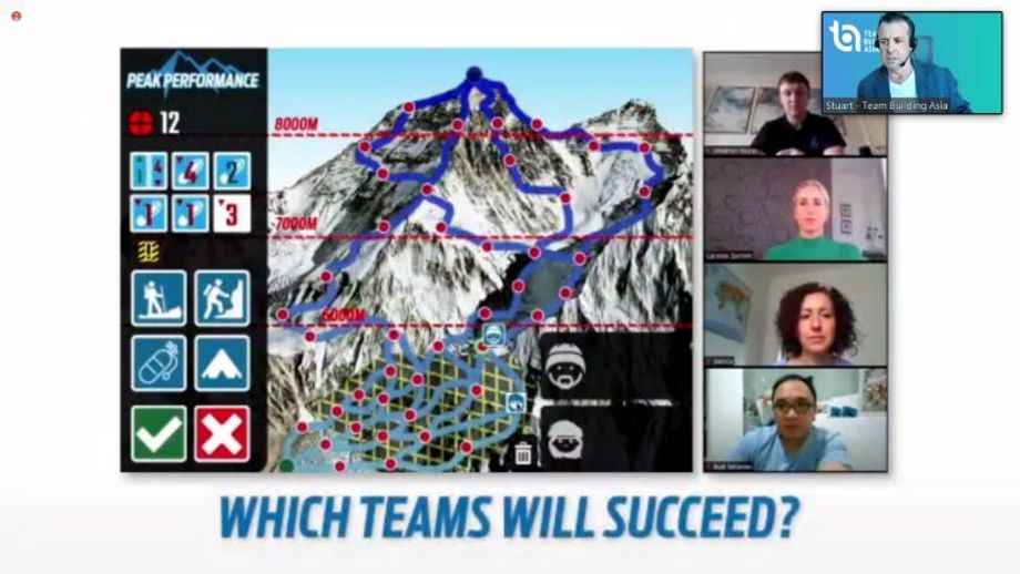 One of Team Building Asia's more popular programmes is scaling Mount Everest and back down, online via iPads provided by the event supplier.