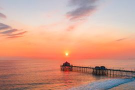 Huntington Beach Sunset Drone