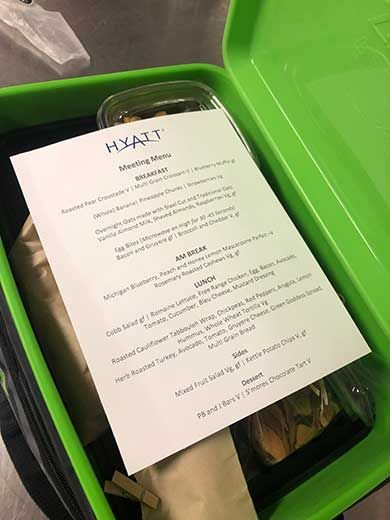 For a hybrid event held at the Hyatt Regency O'Hare, the property and planner arranged for identical meals on-site attendees were enjoying to be delivered to those at home.