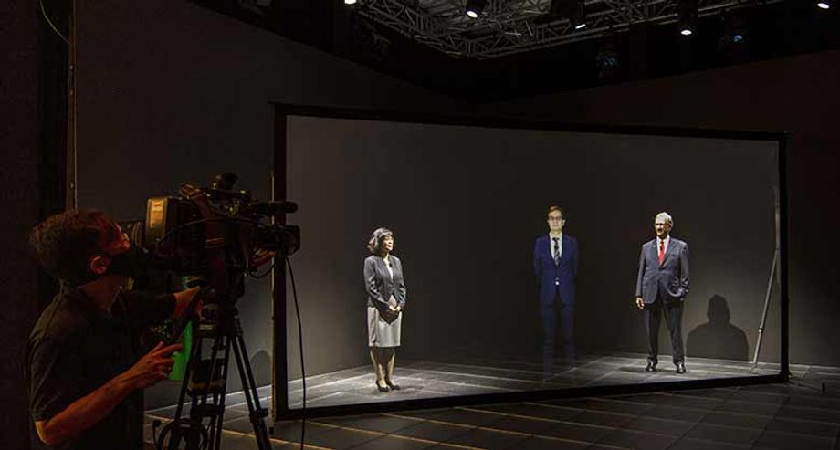 A hologram presenter at the Marina Bay Sands in Singapore.
