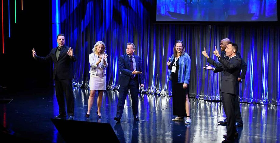 Comedy troupe Four Day Weekend at 2019 IMEX America's MPI Keynote