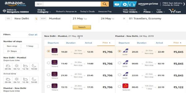 Amazon quietly introduces flight bookings for users in India