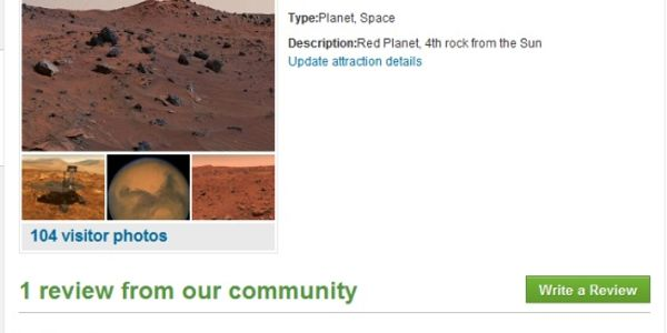 Mars Curiosity rover leaves first TripAdvisor review - not a happy visitor, might be fake