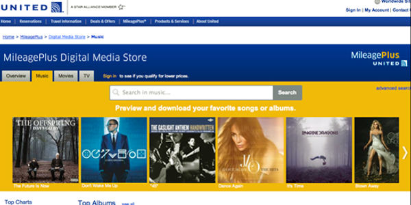 United Airlines frequent flier miles can now buy music, movies