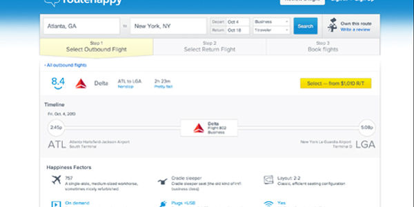Update on Routehappy's innovation in flight meta search