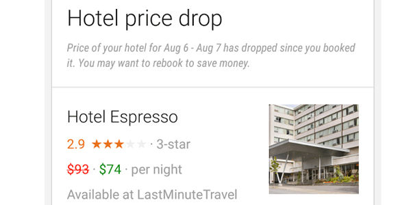 In a test, Google Now trials hotel price drop alerts