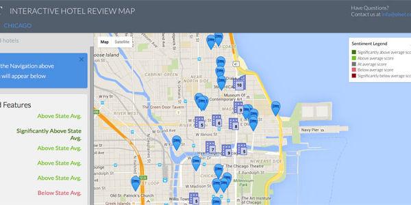 Hotel reviews sentiment map debuts