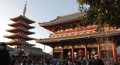 Sensoji, a Buddhist temple located in Asakusa, is one of Tokyo's most colorful and popular temples