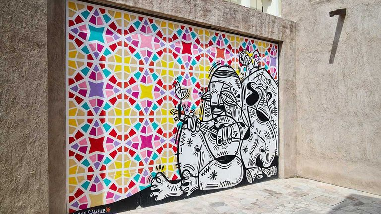 This mural gives color to a previously empty wall.