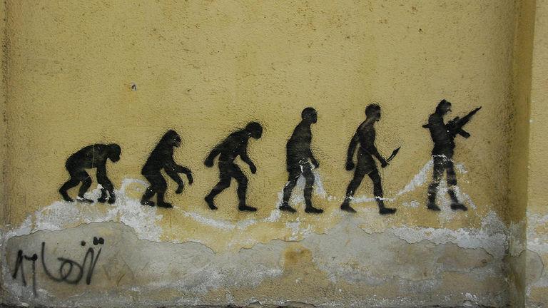 This piece tells a dark story of human evolution.