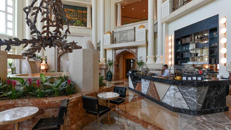 The brighter, more airy lobby showcases bespoke Italian furnishings.