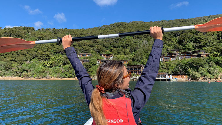 The writer spent an afternoon kayaking in the picturesque area.