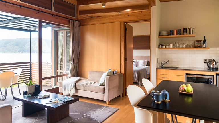 The lodge offers spacious and airy accommodations.