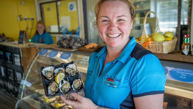 The Oyster Shed sells fresh Sydney Rock oysters as well as a selection of other seafood.