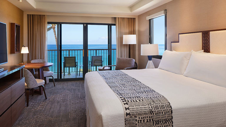 A recently renovated guestroom at Kaanapali Beach Hotel