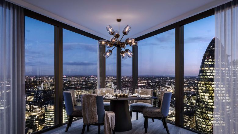 Views from The Sky Residences within One Bishopgate Plaza.