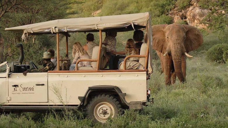 Guests of the Saruni Samburu lodge on a safari in Kenya.