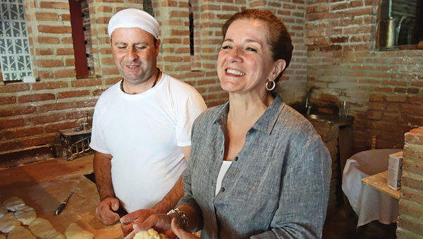 The writer makes bread in Tbilisi.