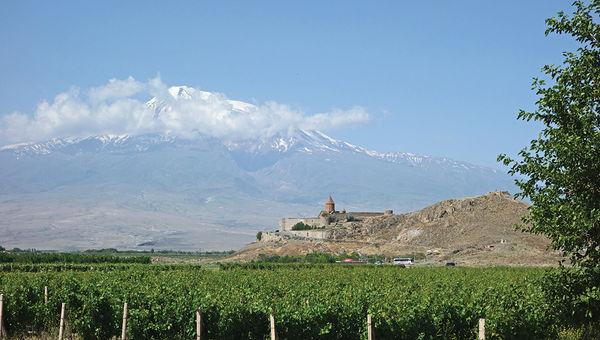 The Khor Virap monastery in Armenia, set against Mount Ararat.