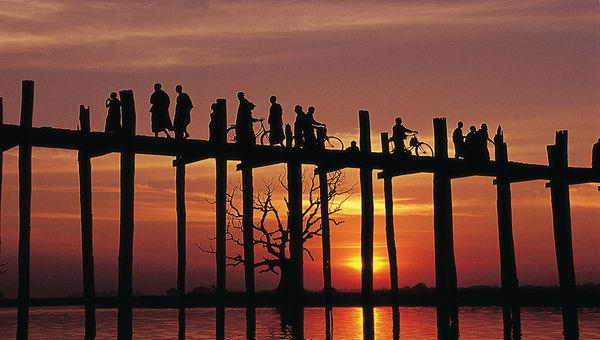 The U Bein Bridge in Mandalay, Myanmar.