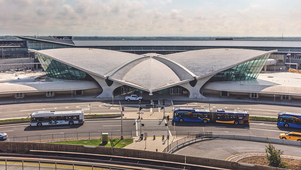 The wing-shaped TWA Flight Center at JFK, designed by Finnish architect Eero Saarinen, is said to be devoid of right angles.