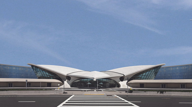 The front of the former TWA Flight Center. After the TWA Hotel is finished it will be the only facility at the airport with meetings spaces.