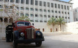 Grounds of the Msheireb Museums, which chronicle the people and industries that laid the foundation for modern-day Qatar. In the late 1930s, trucks like this were used to transport Qatari workers to the country's oil fields out west.
