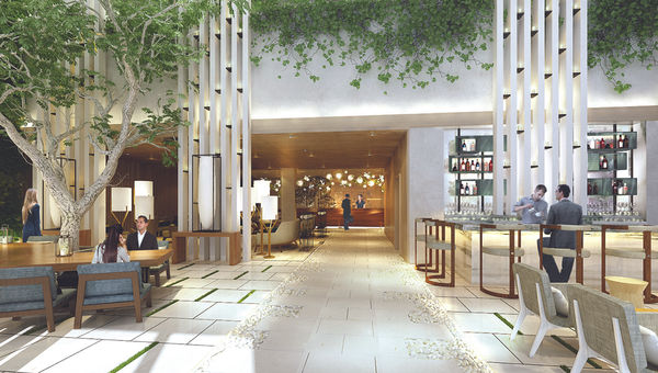 A rendering of the Dream Hollywood's lobby.