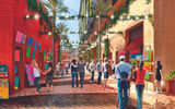 When the Dream Hollywood opens in Los Angeles in June, it will open up into an alley area with boutiques (rendering above).