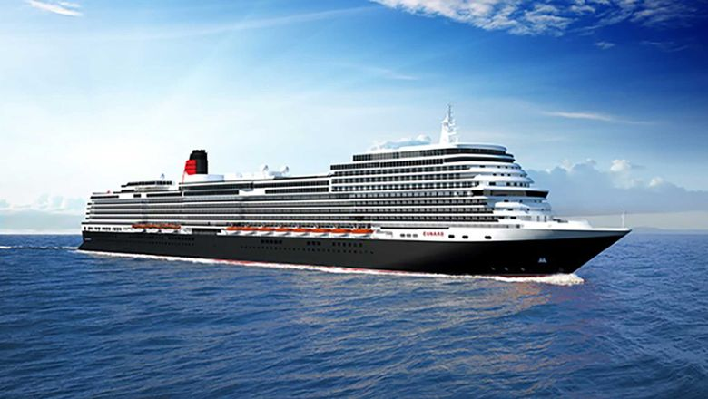 A rendering of the newest Cunarder, which would be delivered a dozen years after the Queen Elizabeth launched.