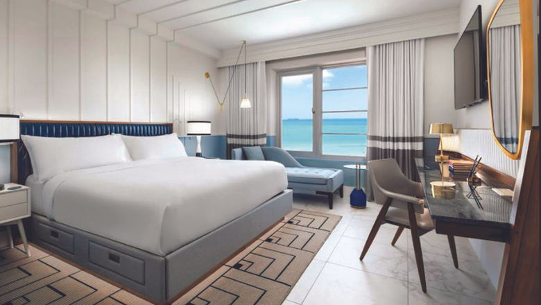 An oceanfront guestroom at the Cadillac Hotel & Beach Club.