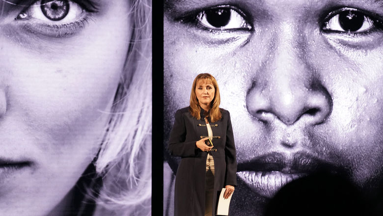 WTTC CEO Gloria Guevara announcing the formation of a task force to help prevent and combat human trafficking.