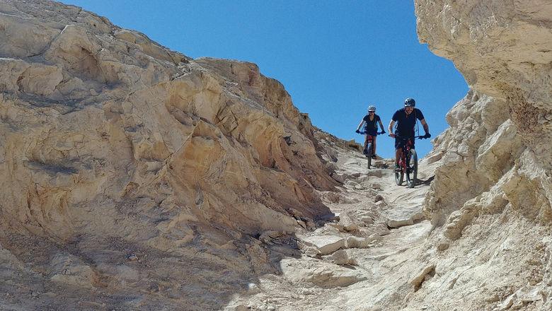 Riders on a Sababike tour on the Sugar Trail through the Judean Desert.