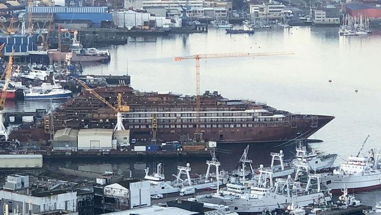 Ritz-Carlton Yacht Collection's Evrima under construction at the Hijos de J. Barreras shipyard in Vigo, Spain, in early January.