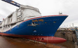 Carnival Cruise Line's largest ship ever, the 5,282-passenger Mardi Gras, was floated out in a ceremony at the Meyer Turku shipyard in Finland.