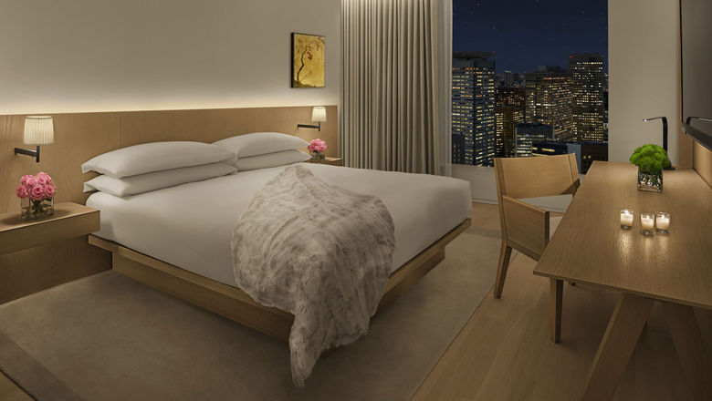 A guest room at the Tokyo Edition Toranomon.
