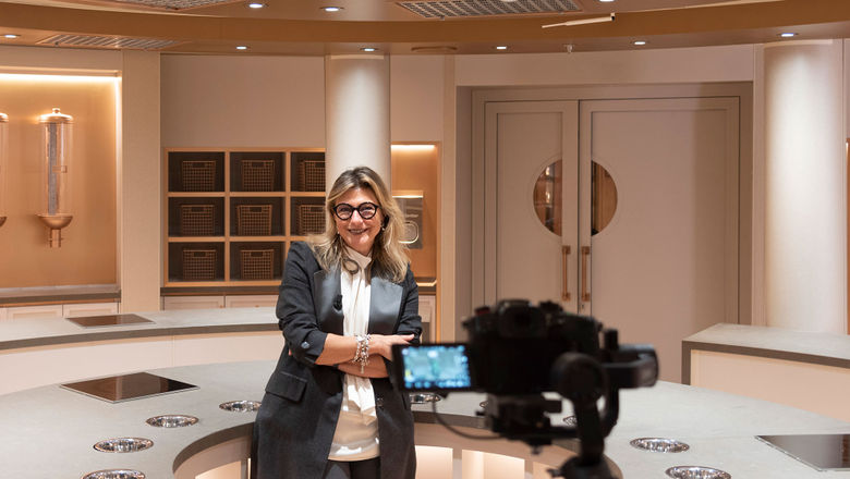 """Silversea's chief marketing officer Barbara Muckermann gives a tour of the SALT Lab on the Silver Moon, a test kitchen where guests will get """"their hands dirty,"""" she said."""