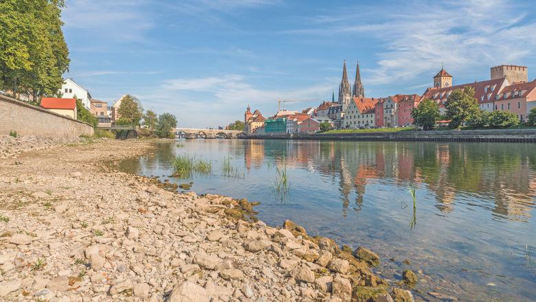 Low waters of the Danube in Regensburg, Germany.