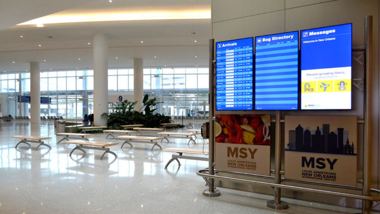 All commercial flights at the New Orleans airport were canceled on Tuesday.