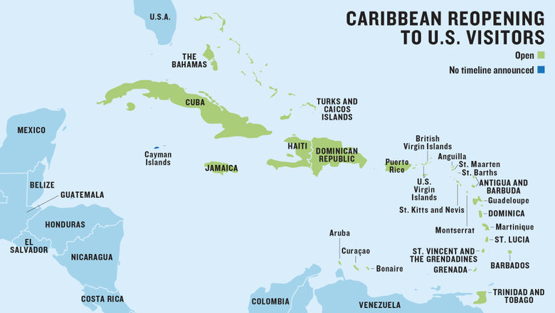 This map of the Caribbean shows which islands are open for U.S. tourism. Updated regularly with new information.