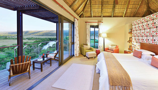 An upstairs room at the Sarili Lodge, offering a view of the Bushmans River.