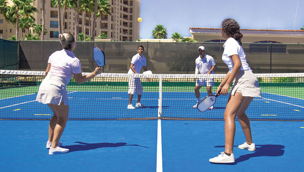Pickleball players on one of the new courts at the Velas Vallarta resort in Puerto Vallarta, Mexico.