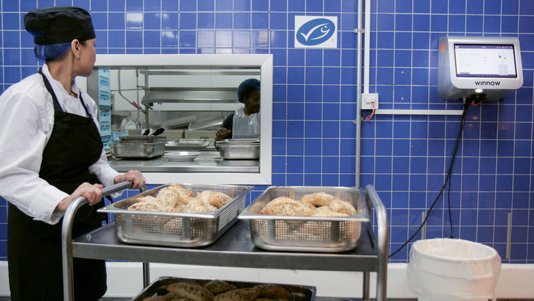 A kitchen with a Winnow Vision system, which uses cameras and artificial intelligence to evaluate discarded food, then analyzes and attaches a cost to the food that was wasted.