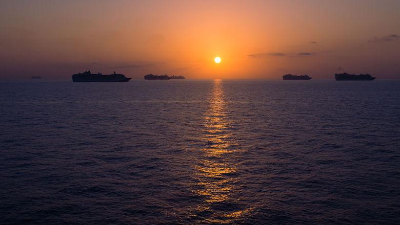Cruise ships idled off the coast of Bimini, the Bahamas, during the pandemic.