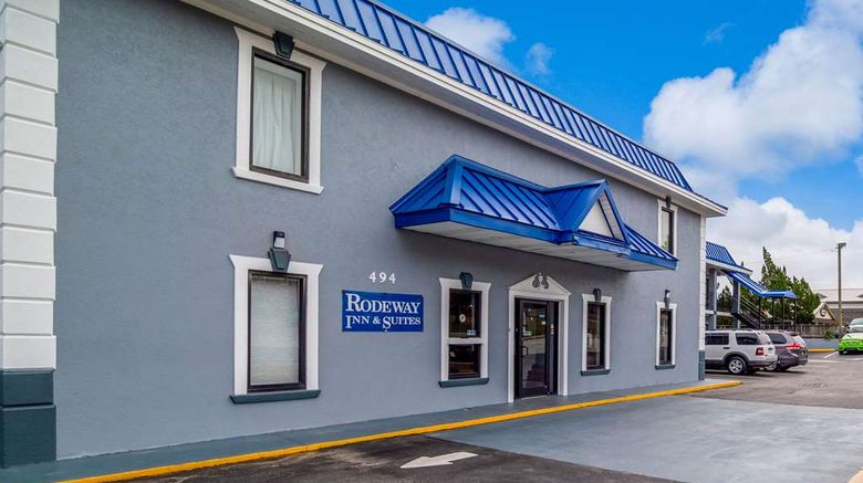 """Rodeway Inn  and  Suites Fort Jackson Exterior. Images powered by <a href=""""http://web.iceportal.com"""" target=""""_blank"""" rel=""""noopener"""">Ice Portal</a>."""