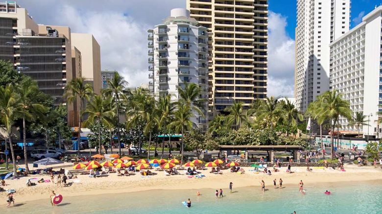"""Aston Waikiki Circle Hotel Exterior. Images powered by <a href=""""http://web.iceportal.com"""" target=""""_blank"""" rel=""""noopener"""">Ice Portal</a>."""