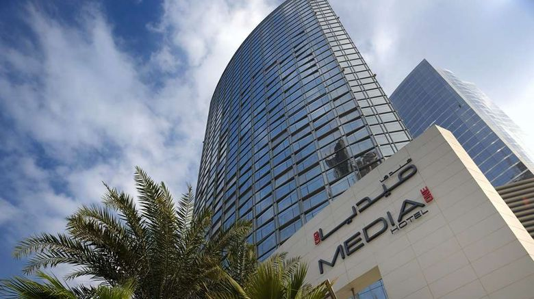 """Media One Hotel Dubai Exterior. Images powered by <a href=""""http://web.iceportal.com"""" target=""""_blank"""" rel=""""noopener"""">Ice Portal</a>."""